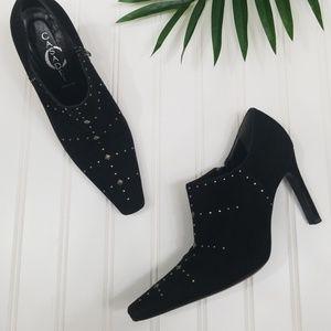 Casadei pointed toe stud suede booties 5.5 black
